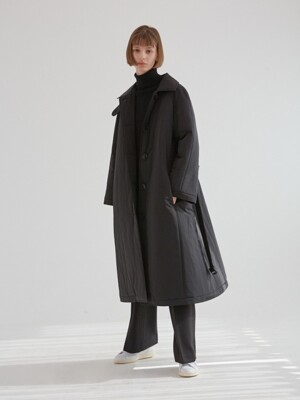 OVER FIT PADDING COAT  BLACK