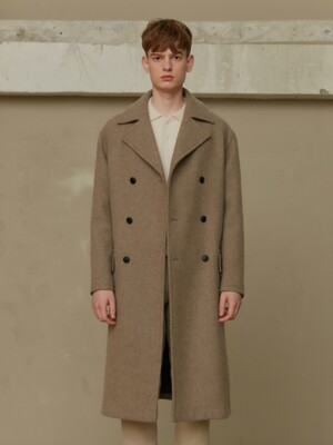 BEIGE TWILL DOUBLE BREASTED COAT (TC1CTVW1009)