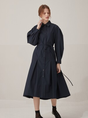 Volume sleeve cotton shirts dress - Navy
