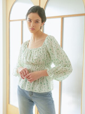 ELASTIC BAND BLOUSE_FLOWER