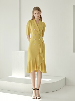 LINA / TAILORED STYLE UNBALANCE FRILL DRESS