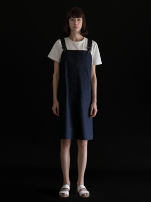 A LINE SUSPENDER SKIRT_NAVY
