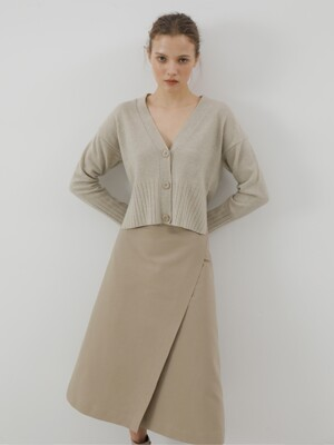 Stitch Double Lab Midi-Skirt_Beige