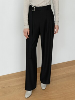STRAIGHT WIDE LEG SLACKS TROUSERS BK