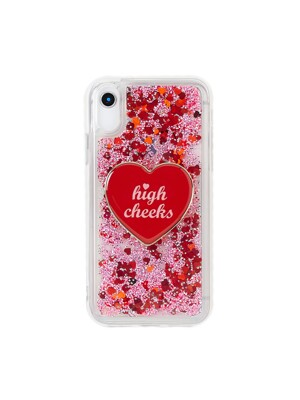 (SET) Red Glitter Phonecase + Red Heart Griptok