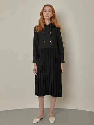 Tweed Double Button Pleated Long One-piece