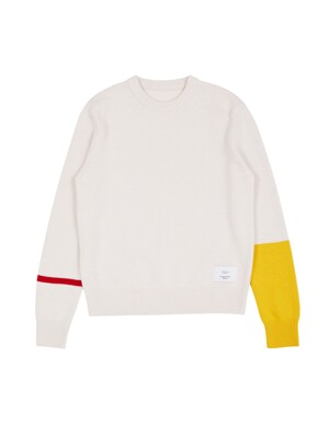 [EXCLUSIVE] Line Sleeve Knit Pullover mustard & red