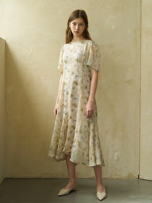 21' Spring_ Natural Flower Chiffon Cut-Out Dress