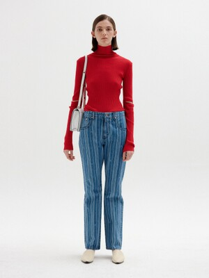 SISI Flared Denim Pants - Blue Stripe