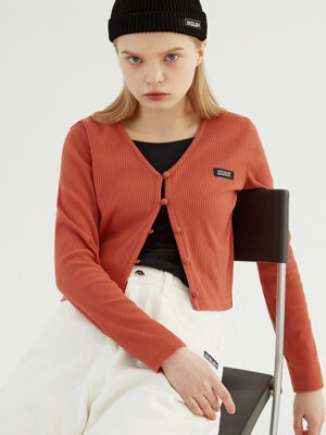 BEAN BUTTON CROP CARDIGAN (ORANGE)