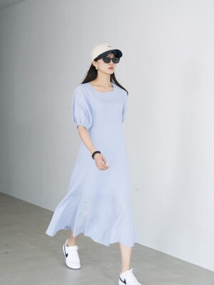 21' Spring_S/Blue Low Neck Blouse