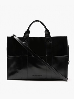 ARTIFICIAL LEATHER 3WAY POCKET BAG (BLACK)