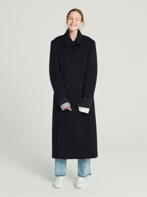 DOUBLE BREASTED WOOL LONG COAT (NAVY)
