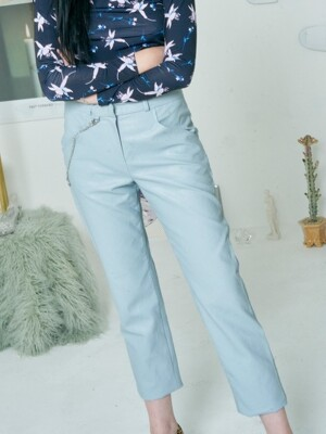 HEART CHAIN LEATHER PANTS [BLUE]