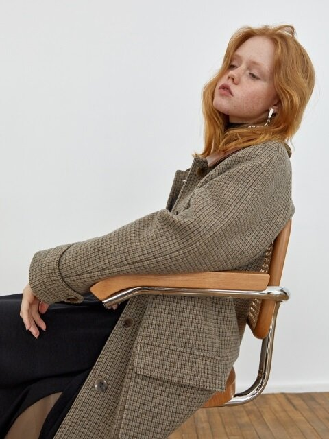 18' FALL_Beige Long Felted Wool Coat