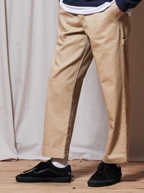 PL056_Banding Straight Cotton Pants_Brown