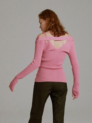 19SS OFF-THE-SHOULDER KNIT TOP (PINK)