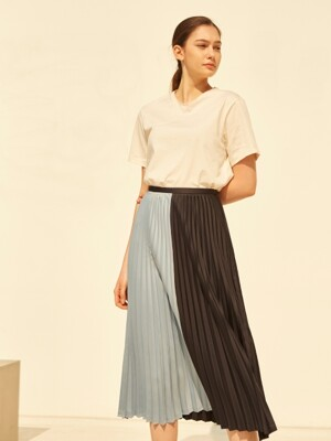 19SS PLEATED COLORBLOCK SKIRT NAVY & SKY