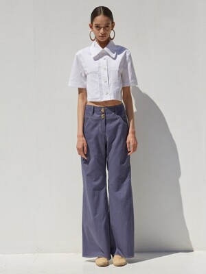 19 SS comfortable linen wide pants  (denim blue)