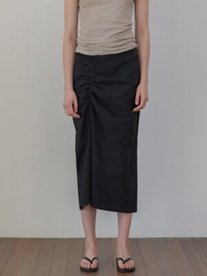 Front Shirring Skirts_Black