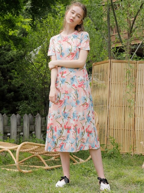 FLORAL LONG ONE-PIECE_PINK