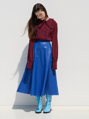 LEATHER FLARE SKIRT_BLUE