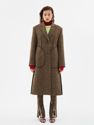 OLIVIA TWEED CHECK INSIDE-OUT COAT awa279w(BROWN CHECK)