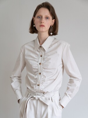 19FW GATHERED LONG SLEEVE COTTON SHIRT (IVORY)