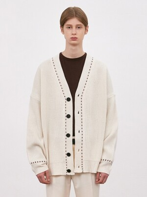 V546 STITCHES OVERSIZE KNIT CARDIGAN_IVORY