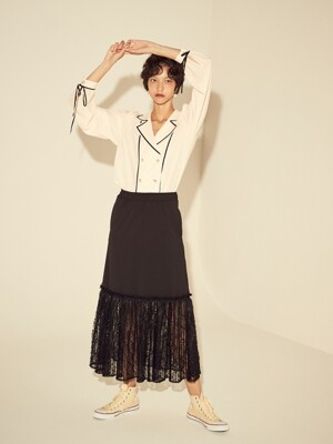LACE PLEATS SKIRT - BLACK