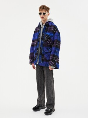 FISHER WOOL PLAID JACKET awa198m(PURPLE)