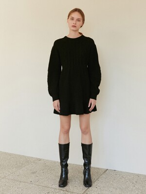 A CABLE TIE KNIT DR_BLACK