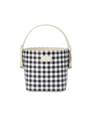 Tote multi check bucket bag_White Black