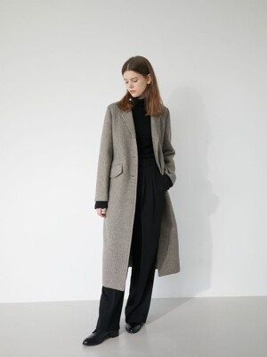 19' WINTER_OLIVE HOUNDSTOOTH CHECK SLIM SINGLE COAT