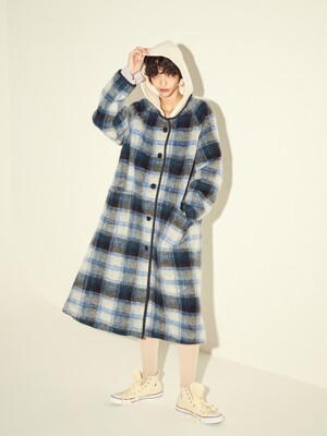 OVERSIZED TWO-TONE HOOD COAT - BLUE/PINK