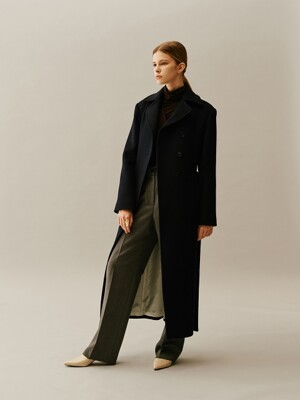 Slim Fit Wool Long Coat NAVY