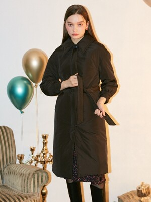 Drop Shoulder Padding Coat_ Black