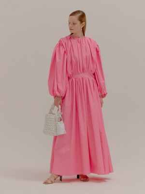 POMPEE Pink Cotton Shirred Maxi Dress