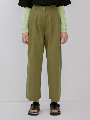 R TWO TUCK LOOSE FIT PANTS_KHAKI