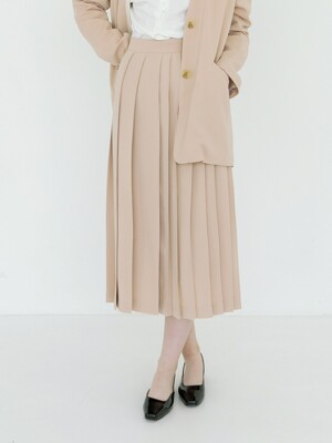 Asymmetric Knife Pleat Skirt : Beige