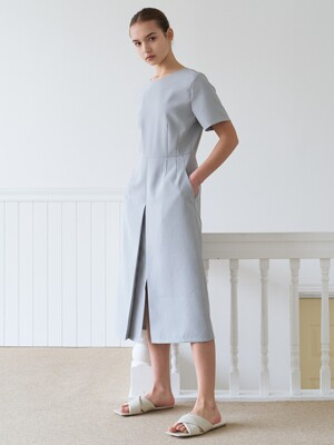 button slit dress-lightblue