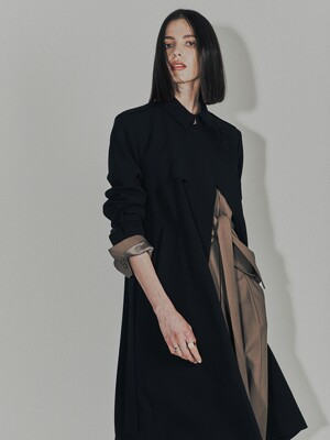[Drama Signature] Belted Straight Trench_BLACK