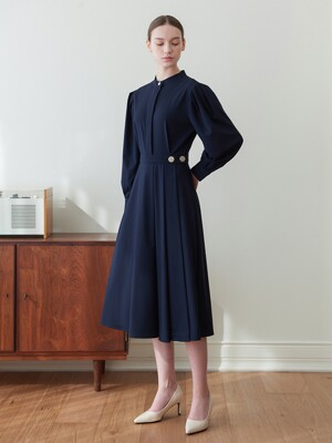 LLC Gold Button Long Wrap One-piece_navy