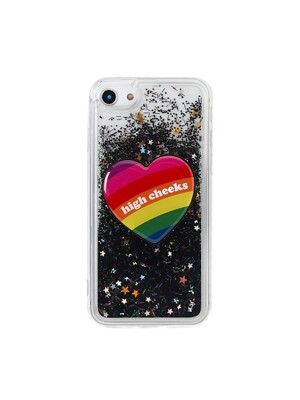 (SET) Black Glitter Phonecase + Rainbow Heart Griptok
