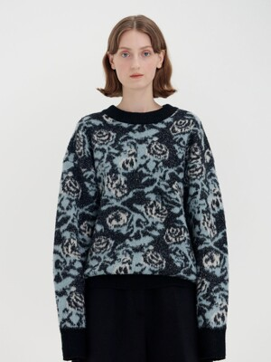 QOQO Floral Patterned Knit Pullover - Black Multi