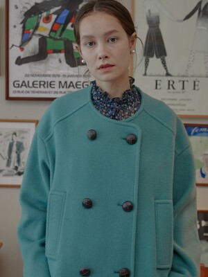Merry Double-breasted Wool Coat _Mint
