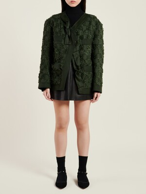 KHAKI BOUCLE TWEED JACKET