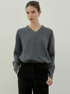 CLASSICAL SOFT V SWEATER_CHARCOAL