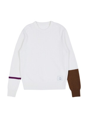 [EXCLUSIVE] Line Sleeve Knit Pullover brown & violet