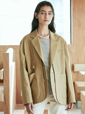 Matilda Stitch Cotton Jacket_Dark Beige